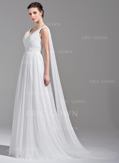 A-Line/Princess V-neck Watteau Train Tulle Wedding Dress With Ruffle (002071606)