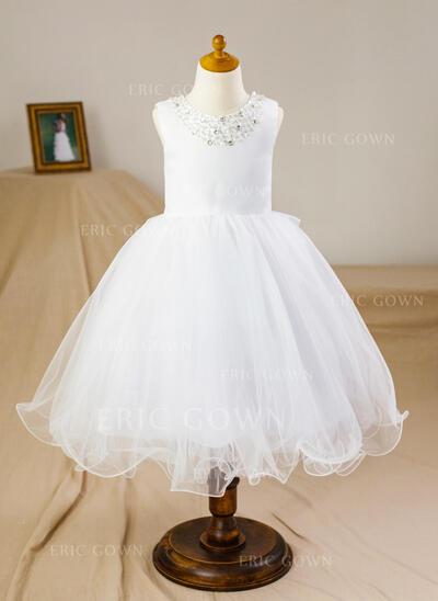 Ball Gown Knee-length Flower Girl Dress - Satin/Tulle Sleeveless Scoop Neck With Beading/Bow(s) (010094048)