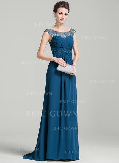 A-Line/Princess Chiffon Sleeveless Scoop Neck Sweep Train Zipper Up Mother of the Bride Dresses (008074207)