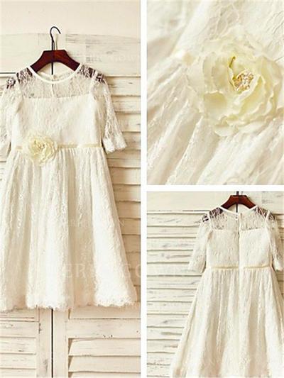 A-Line/Princess Scoop Neck Tea-length With Flower(s) Lace Flower Girl Dresses (010212020)