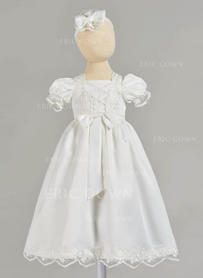 A-Line/Princess Square Neckline Floor-length Satin Christening Gowns With Lace (2001216835)