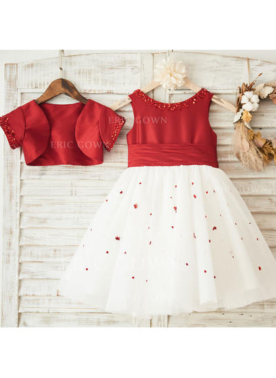 A-Line/Princess Knee-length Flower Girl Dress - Satin Sleeveless Scoop Neck With Sequins/Pleated (Wrap included) (010119295)