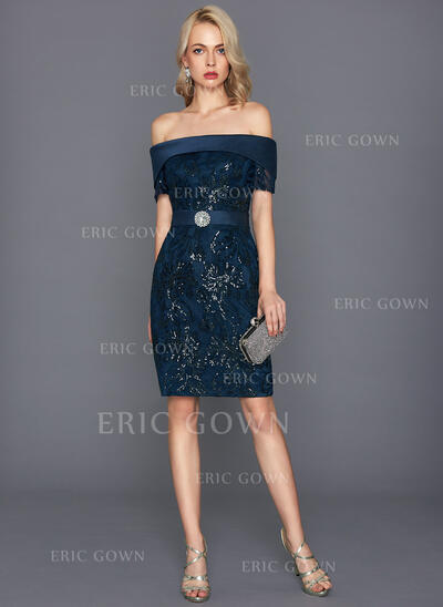 Sheath/Column Off-the-Shoulder Knee-Length Lace Cocktail Dress With Beading Sequins (016124590)