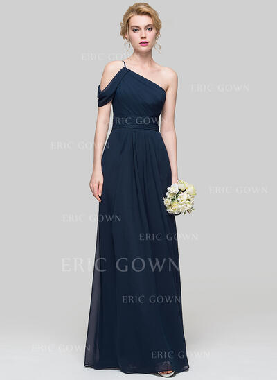 A-Line One-Shoulder Floor-Length Chiffon Prom Dresses With Ruffle (018112678)
