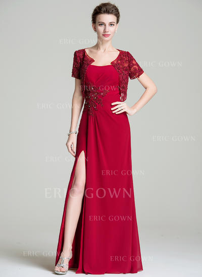 A-Line/Princess Sweetheart Floor-Length Mother of the Bride Dresses With Ruffle Beading Appliques Lace Sequins Split Front (008072704)