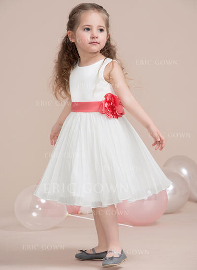 A-Line/Princess Tea-length Flower Girl Dress - Chiffon/Satin Sleeveless Scoop Neck With Flower(s)/Bow(s) (010115801)