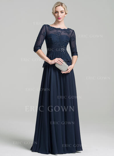 A-Line Scoop Neck Floor-Length Chiffon Mother of the Bride Dress With Ruffle Beading Appliques Lace Sequins (008091946)