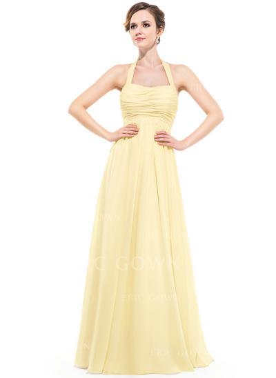 Empire Chiffon Bridesmaid Dresses Ruffle Halter Sleeveless Floor-Length (007063000)