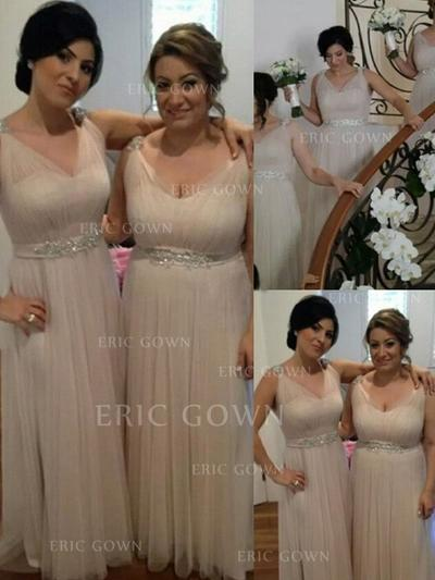 A-Line/Princess Tulle Bridesmaid Dresses Ruffle Beading Sequins V-neck Sleeveless Floor-Length (007144997)