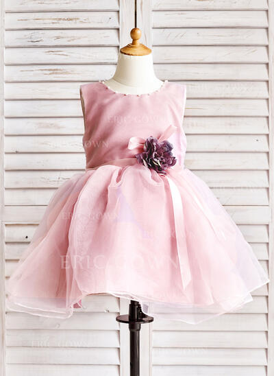 A-Line/Princess Knee-length Flower Girl Dress - Organza Sleeveless Scoop Neck With Beading/Flower(s)/Bow(s) (010091893)