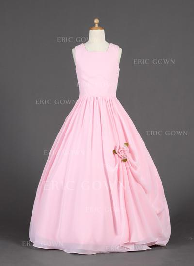 Fashion Scoop Neck Ball Gown Flower Girl Dresses Floor-length Chiffon Sleeveless (010014626)
