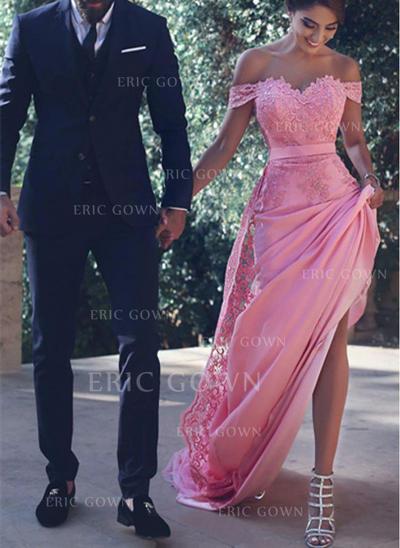 Trumpet/Mermaid Court Train Prom Dresses Off-the-Shoulder Satin Sleeveless (018145551)