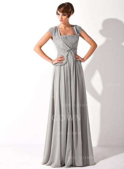A-Line/Princess Chiffon Short Sleeves Square Neckline Floor-Length Zipper Up Mother of the Bride Dresses (008211193)