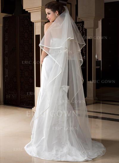Chapel Bridal Veils Tulle One-tier Drop Veil With Ribbon Edge Wedding Veils (006151530)