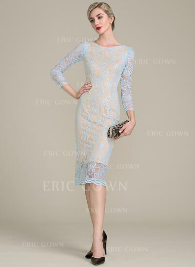 Sheath/Column Scoop Neck Knee-Length Lace Mother of the Bride Dress (008102684)