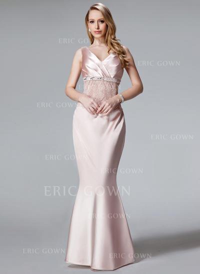 Trumpet/Mermaid Charmeuse Sleeveless V-neck Floor-Length Zipper Up Mother of the Bride Dresses (008003481)
