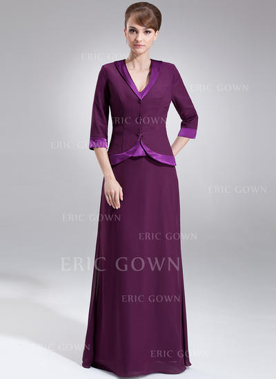 A-Line/Princess Chiffon Charmeuse Sleeveless V-neck Floor-Length Zipper Up Mother of the Bride Dresses (008213090)