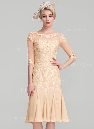 Sheath/Column Scoop Neck Knee-Length Chiffon Lace Cocktail Dress With Beading (016174153)