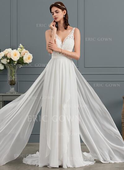 A-Line/Princess V-neck Sweep Train Chiffon Wedding Dress With Cascading Ruffles (002153446)