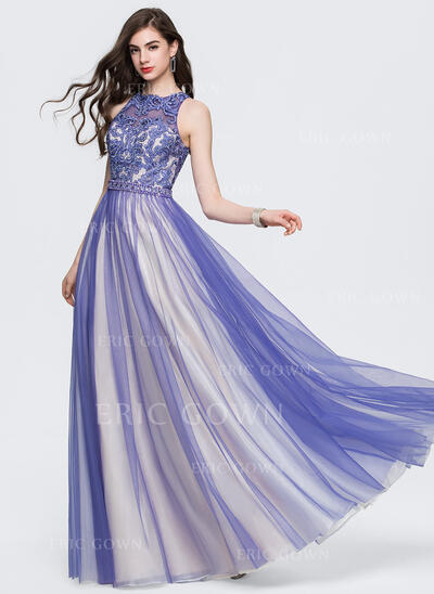 A-Line/Princess Scoop Neck Floor-Length Tulle Prom Dresses With Beading Sequins (018146341)