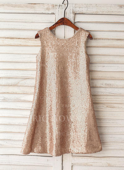 A-Line/Princess Knee-length Flower Girl Dress - Sequined Sleeveless Scoop Neck With Sequins (010119304)