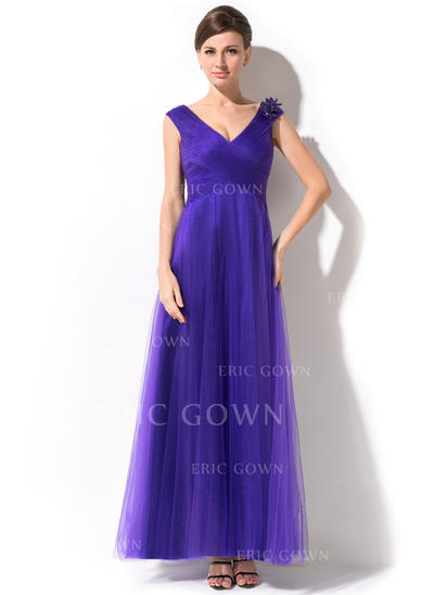 A-Line/Princess Tulle Sleeveless V-neck Ankle-Length Zipper Up Mother of the Bride Dresses (008026215)