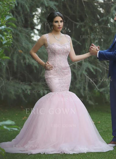 2018 New Scoop Trumpet/Mermaid Wedding Dresses Sweep Train Tulle Sleeveless (002210872)