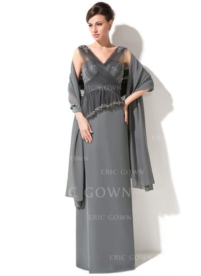 Sheath/Column Chiffon Tulle Sleeveless V-neck Floor-Length Zipper Up at Side Mother of the Bride Dresses (008050382)