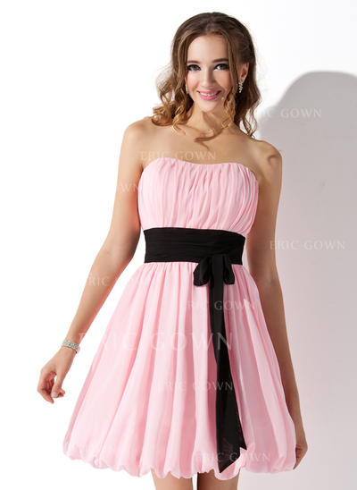 Empire Sweetheart Short/Mini Bridesmaid Dresses With Ruffle Sash Bow(s) (007051854)