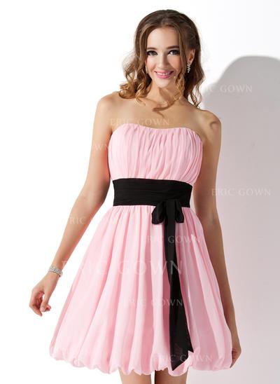 Empire Sweetheart Short/Mini Bridesmaid Dresses With Ruffle Sash Bow(s) (007051854)