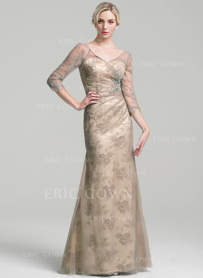 Sheath/Column Tulle 3/4 Sleeves V-neck Floor-Length Zipper Up Mother of the Bride Dresses (008091966)