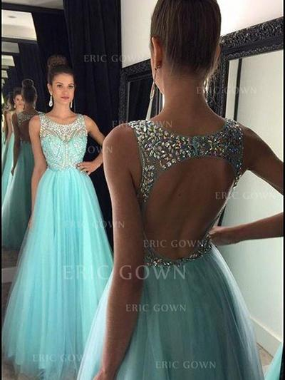 A-Line/Princess Scoop Neck Floor-Length Prom Dresses With Beading (018212210)