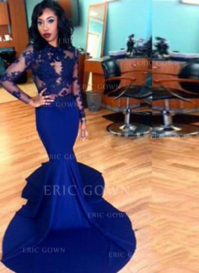 Trumpet/Mermaid Scoop Neck Court Train Prom Dresses (018217247)