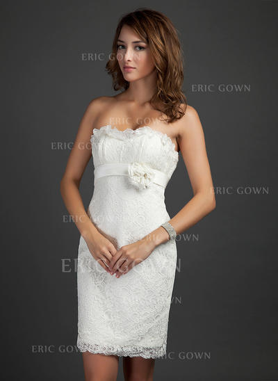 Sheath/Column Strapless Short/Mini Lace Cocktail Dresses With Beading Flower(s) Cascading Ruffles (016015339)