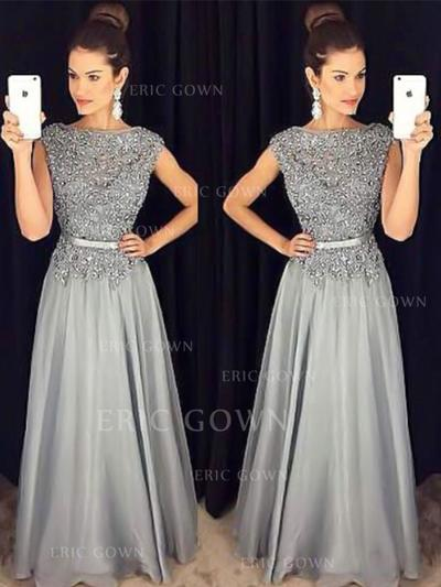 A-Line/Princess Scoop Neck Floor-Length Prom Dresses With Sash Beading Appliques Lace (018217931)