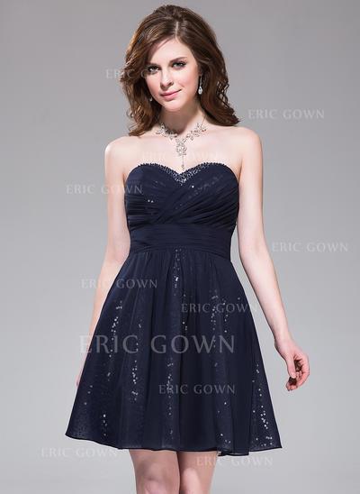 A-Line/Princess Sweetheart Short/Mini Homecoming Dresses With Ruffle Beading (022214003)