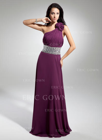 A-Line/Princess One-Shoulder Floor-Length Evening Dresses With Ruffle Beading Flower(s) (017014886)