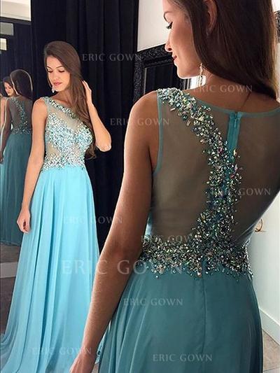 A-Line/Princess Floor-Length Chiffon Evening Dresses With Beading Sequins (017216995)