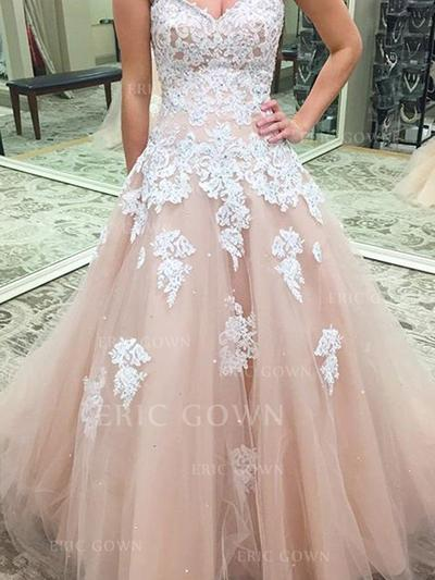 Ball-Gown Sweetheart Floor-Length Evening Dresses With Appliques Lace (017217078)