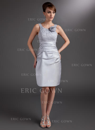Sheath/Column Satin Sleeveless Scoop Neck Knee-Length Zipper Up Mother of the Bride Dresses (008006032)