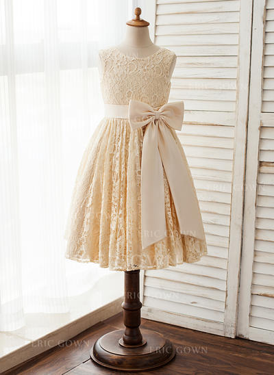 A-Line/Princess Knee-length Flower Girl Dress - Satin/Lace Sleeveless Scoop Neck With Bow(s) (010125841)