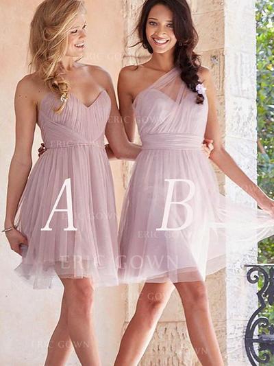 A-Line/Princess Sweetheart Short/Mini Bridesmaid Dresses With Ruffle (007211686)