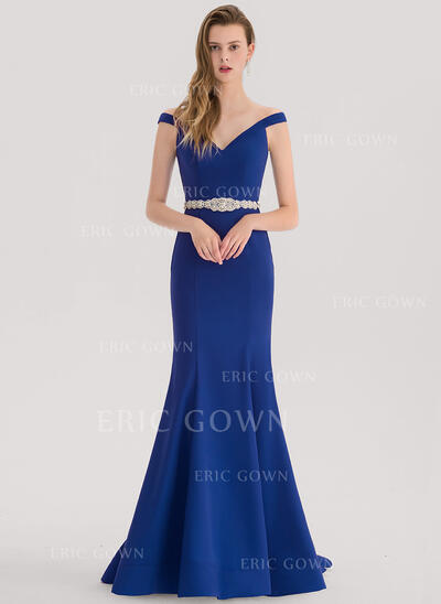 Trumpet/Mermaid Off-the-Shoulder Sweep Train Stretch Crepe Prom Dresses With Beading (018138344)