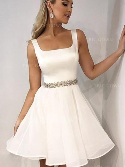 A-Line/Princess Square Neckline Short/Mini Homecoming Dresses With Beading (022216379)