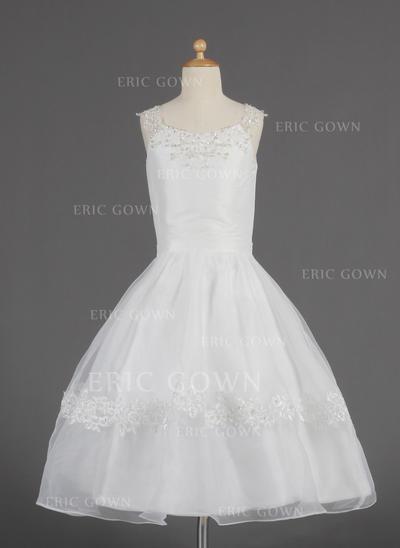Newest Scoop Neck A-Line/Princess Flower Girl Dresses Tea-length Organza Sleeveless (010014622)