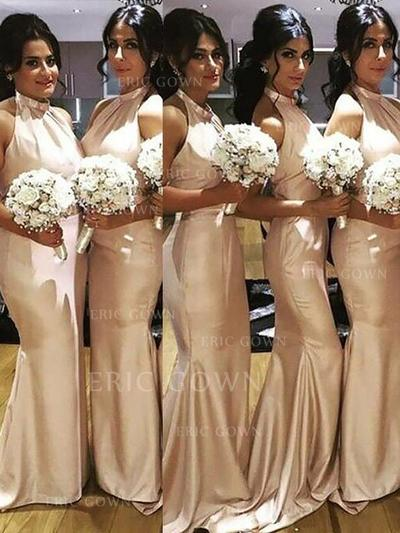 Trumpet/Mermaid Satin Bridesmaid Dresses Ruffle Halter Sleeveless Floor-Length (007211697)