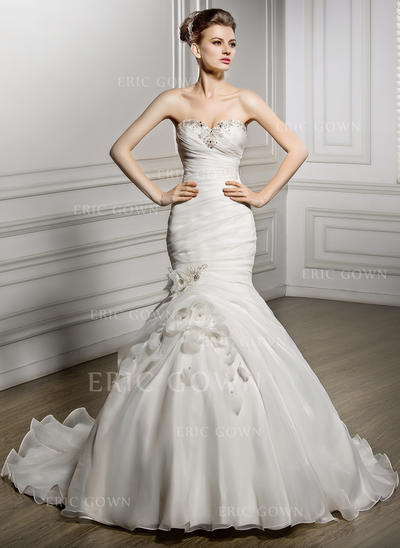 Trumpet/Mermaid Sweetheart Court Train Wedding Dresses With Ruffle Beading Flower(s) Sequins (002056964)