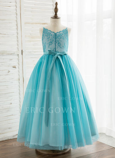 A-Line Ankle-length Flower Girl Dress - Tulle/Lace Sleeveless Straps (010164710)