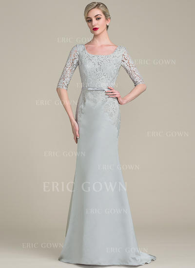 Trumpet/Mermaid Satin Lace 1/2 Sleeves Square Neckline Sweep Train Zipper Up Mother of the Bride Dresses (008102696)