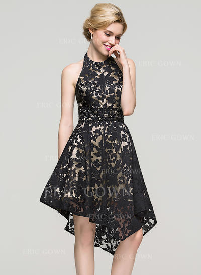 A-Line/Princess Halter Asymmetrical Lace Homecoming Dresses With Beading Sequins (022214116)